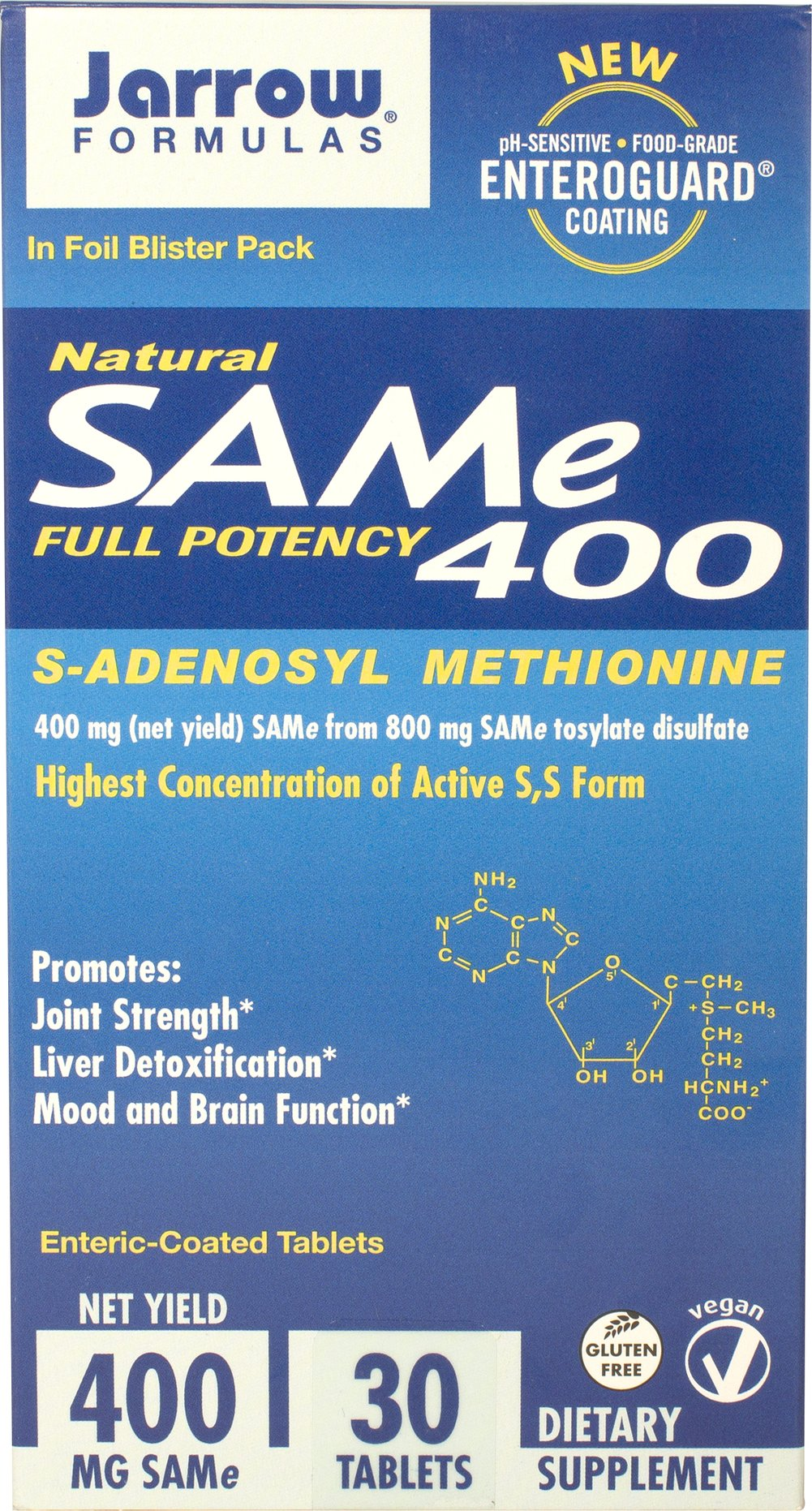 SAM-e 400 mg <p><strong>From the Manufacturer's Label: </strong></p><p>Jarrow Formulas® SAM-e 400 provides a full 400 mg SAM-e (net yield) from 800 mg of SAM-e tosylate disulfate.  SAM-e 400 is manufactured under low temperature and low humidity and is enteric-coated to ensure a biologically active product. </p><p>Found in all living cells, SAM-e is a metabolite of methionine (an essential amino acid) SAM-e is a chiral molecule and consists of two f