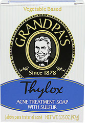 Thylox Acne Soap With Sulfur <p><b>From the Manufacturer's Label</b></p> <p>Thylox Acne Soap With Sulfur is manufactured by Grandpa's.</p> 3.25 oz Bar  $4.99