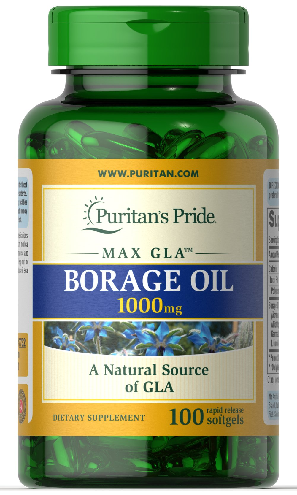 borage oil 1000 mg 100 softgels | lifestyle - women's supplements, Skeleton