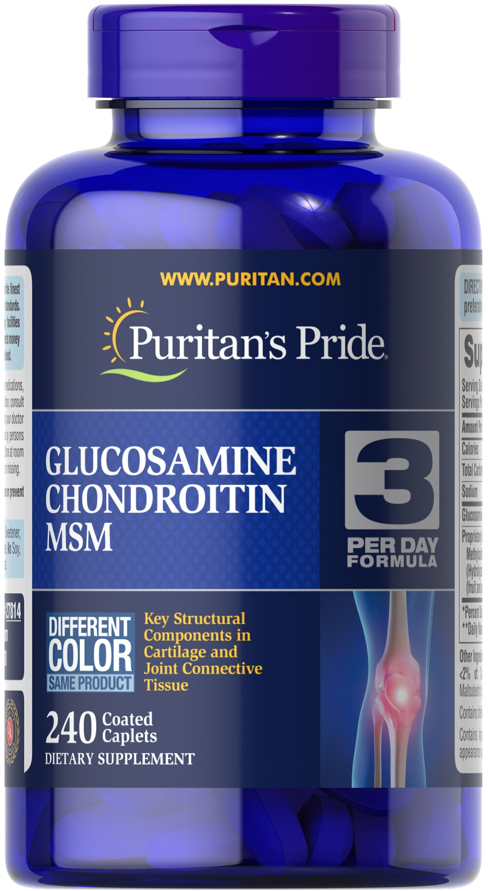 Double Strength Glucosamine, Chondroitin & MSM Joint Soother®Combines the top three structural components found in popular joint support products — Glucosamine, Chondroitin and MSM — with amino and herbal support from Collagen and Boswellia Serrata** This high-quality formula delivers 1,500 mg of Glucosamine HCl  to help support cartilage, lubricate the joints, and helps with occasional joint stress due to exercise or physical activity** 240 Caplets