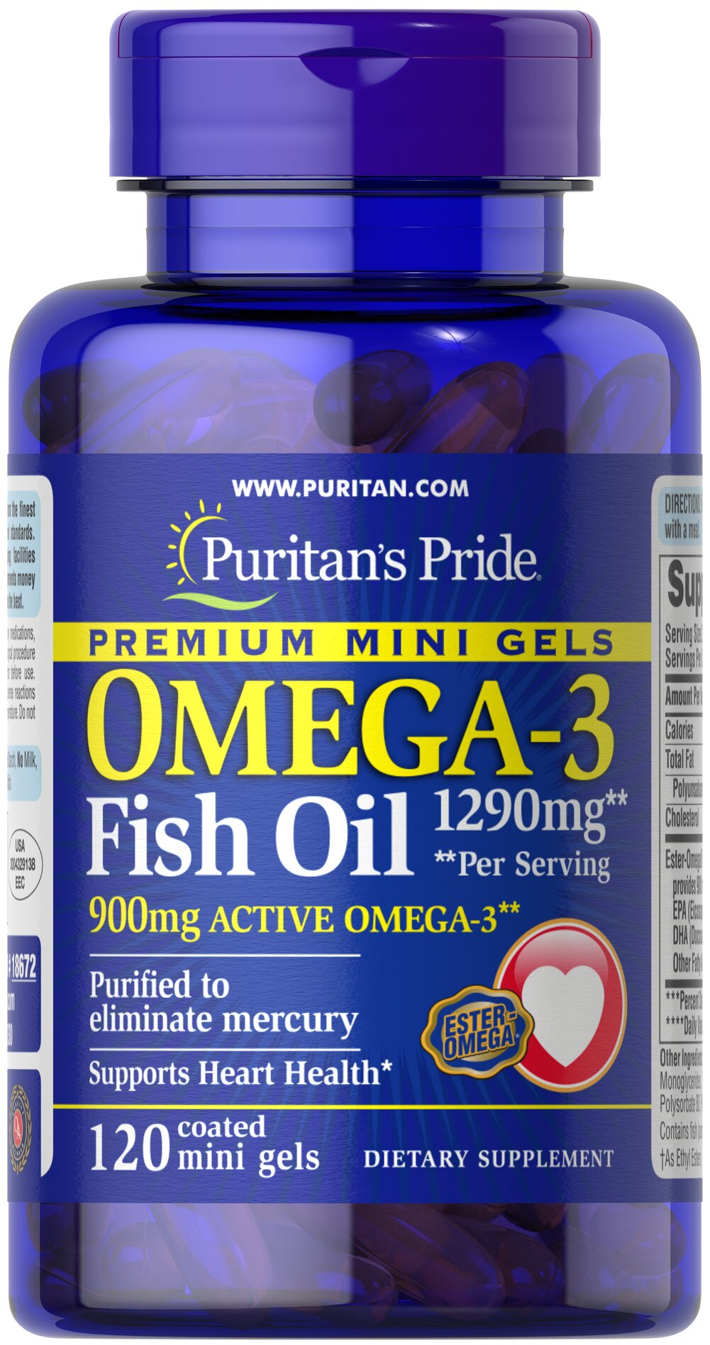 Omega 3 fish oil 645 mg mini gels 450 mg active omega 3 for Omega 3 fish oil pills