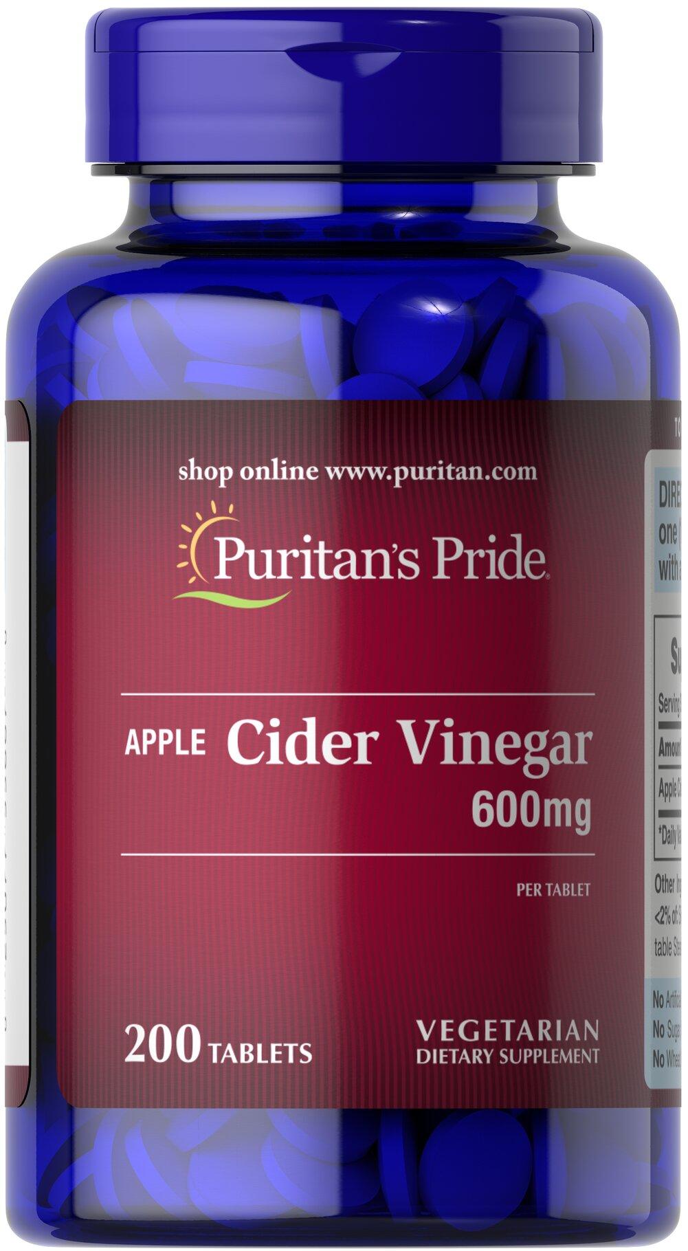 Puritan's Pride Apple Cider Vinegar 600 mg - 200 Tablets