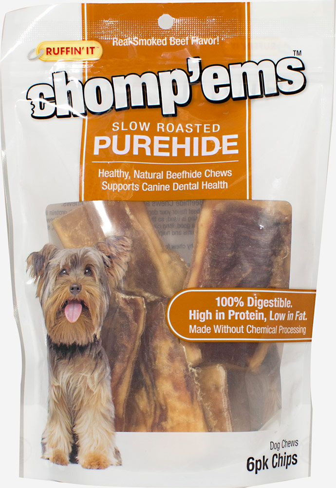 Ruffin'It Chomp'ems Slow Roasted PureHide Chips-6 pack Bag 021285