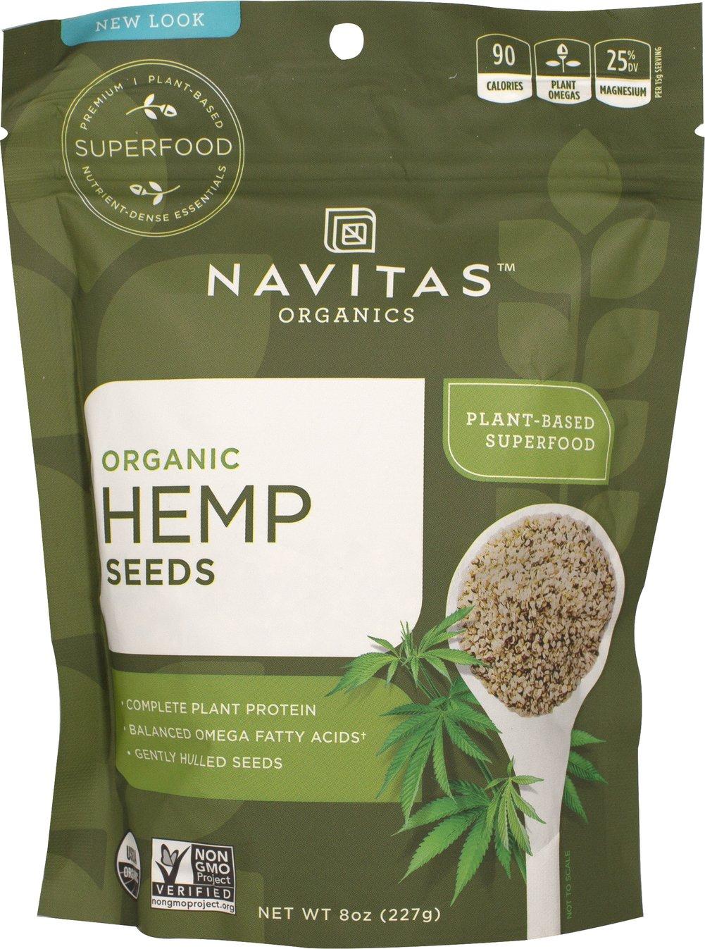 Navitas Naturals Organic Shelled Hemp Seeds 8 oz - Vegan
