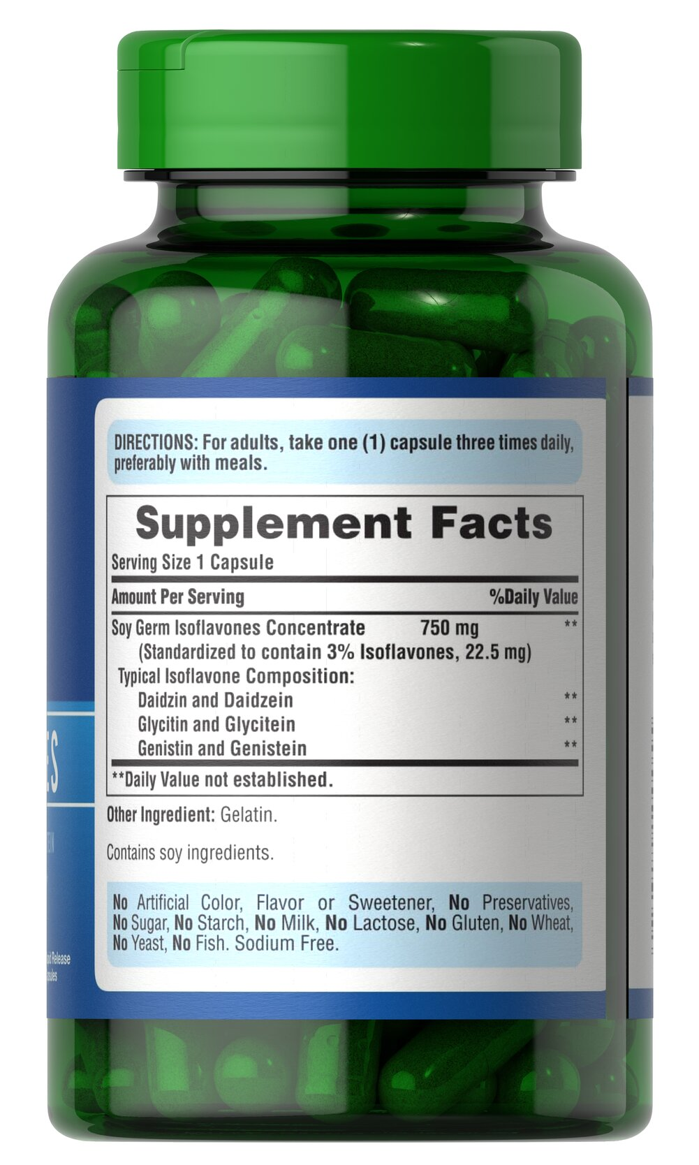 Non-GMO Soy Isoflavones 750 mg Thumbnail Alternate Bottle View