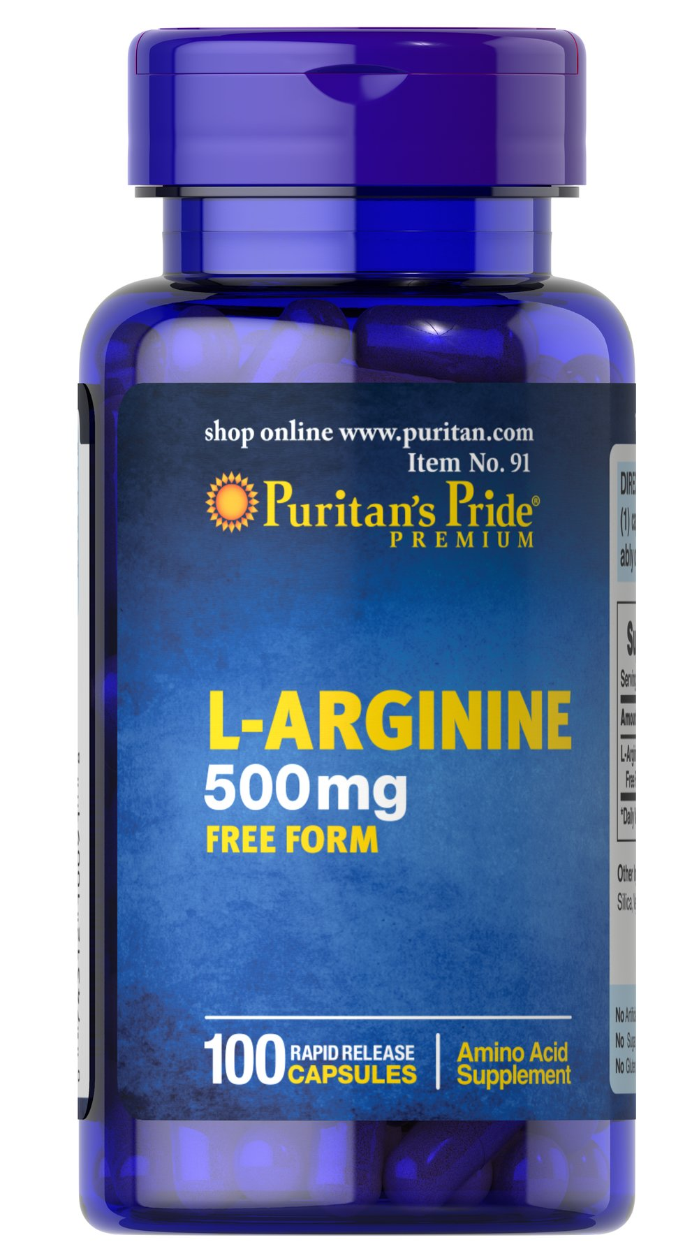 L-Arginine 500 mg Thumbnail Alternate Bottle View