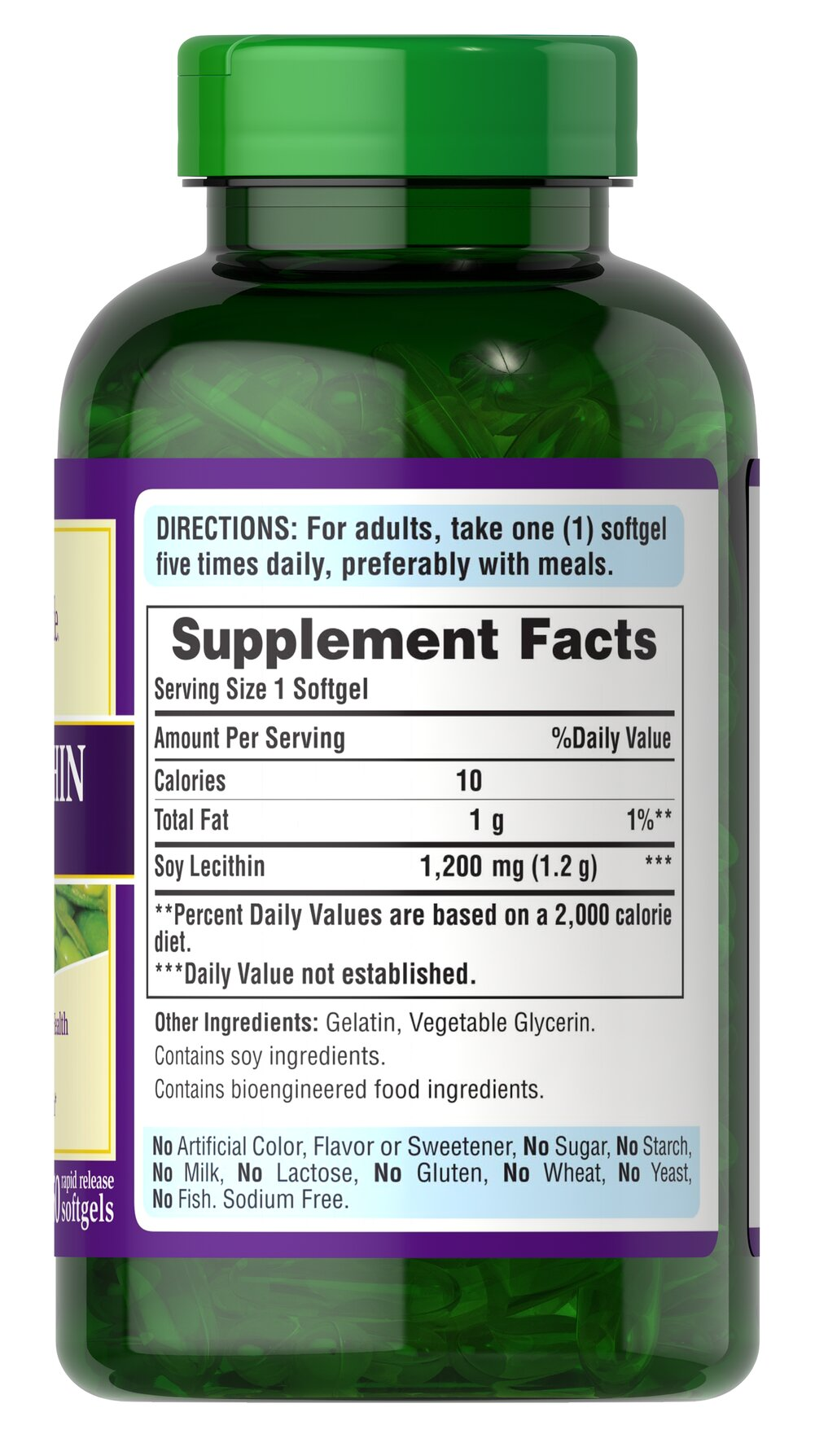 Soy Lecithin 1200 mg Thumbnail Alternate Bottle View