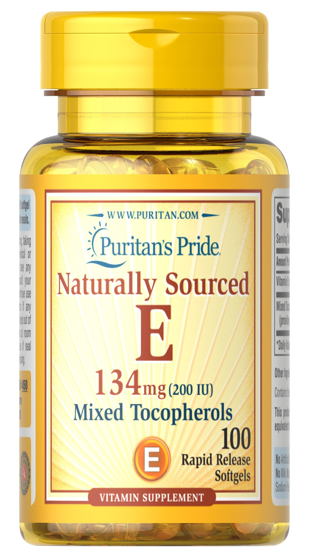 Vitamin E-200 iu Mixed Tocopherols Natural Thumbnail Alternate Bottle View