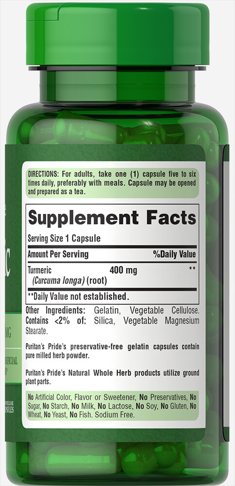 Turmeric 400 mg Thumbnail Alternate Bottle View