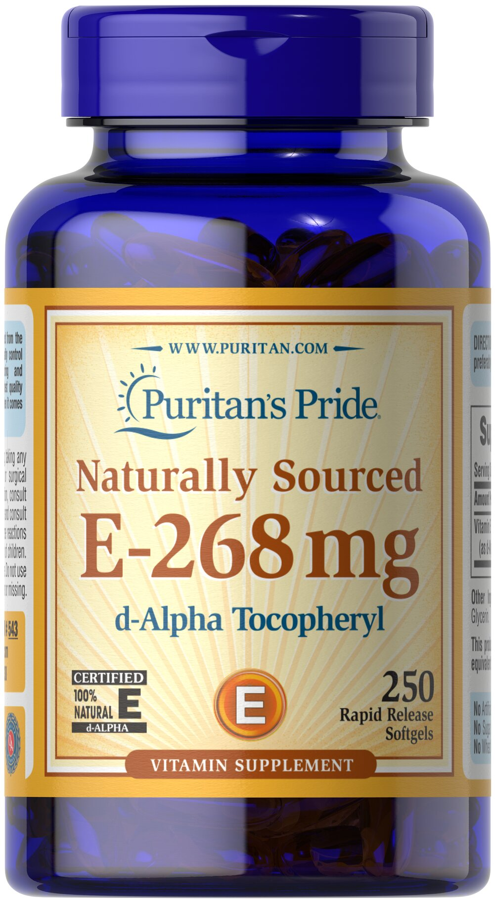 Vitamin E-400 iu 100% Natural Thumbnail Alternate Bottle View