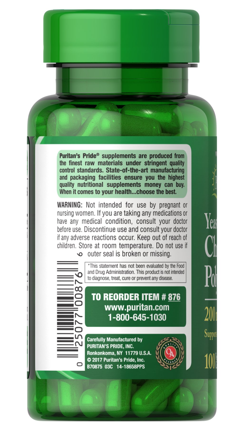 Chromium Polynicotinate 200 mcg Yeast Free Thumbnail Alternate Bottle View
