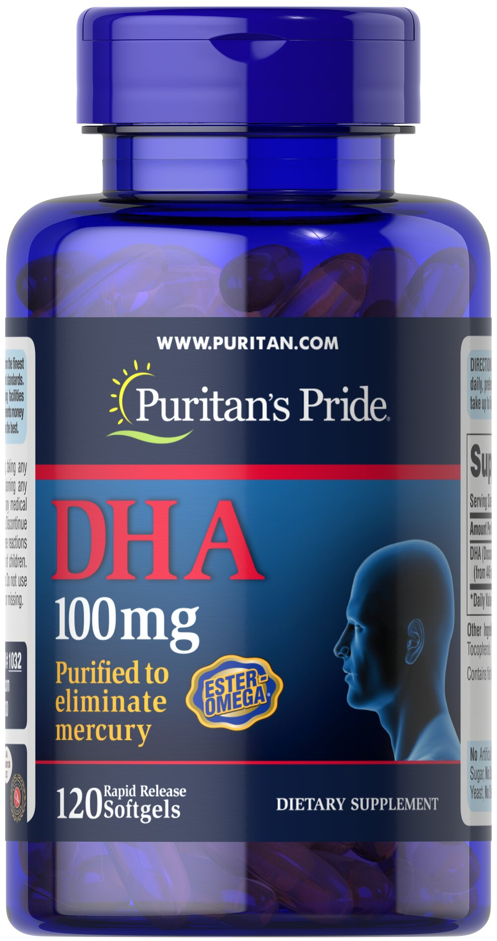 DHA 100 mg Thumbnail Alternate Bottle View