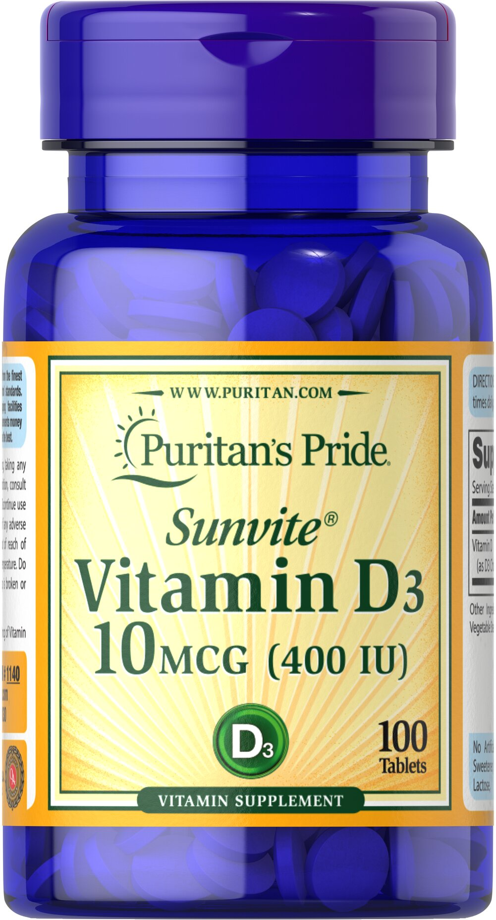 Vitamin D3 10 mcg (400 IU) Thumbnail Alternate Bottle View