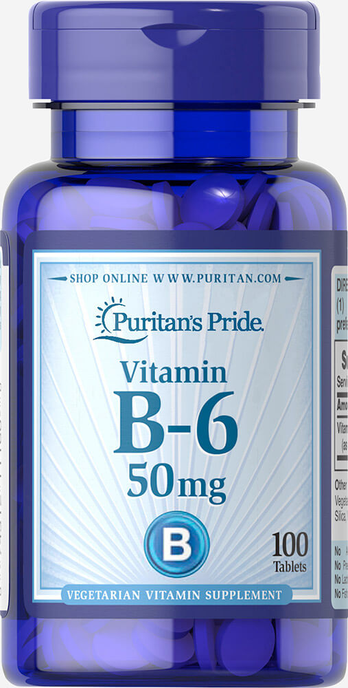 Vitamin B-6 (Pyridoxine Hydrochloride) 50 mg Thumbnail Alternate Bottle View