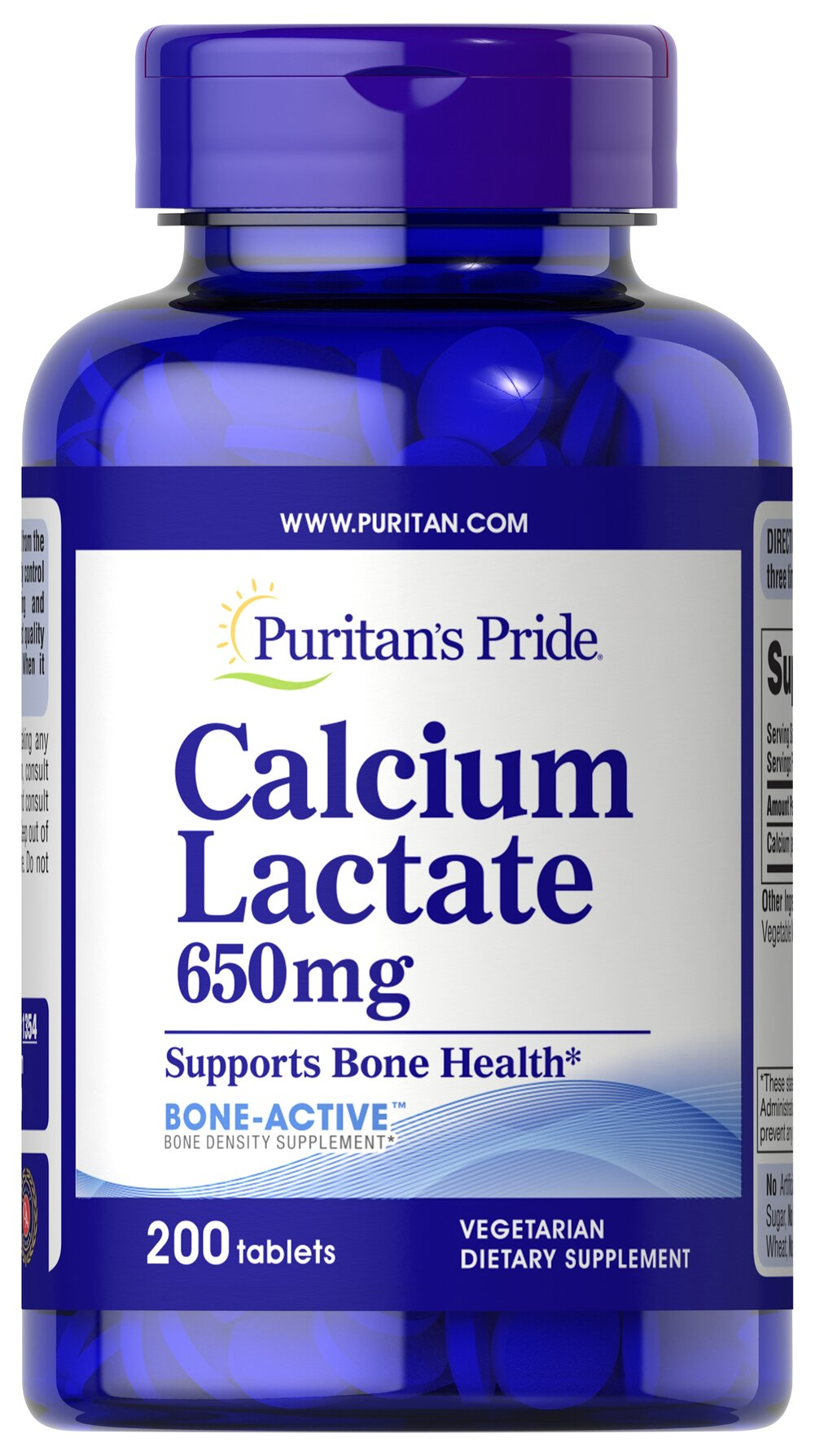 Calcium Lactate 650 mg Thumbnail Alternate Bottle View