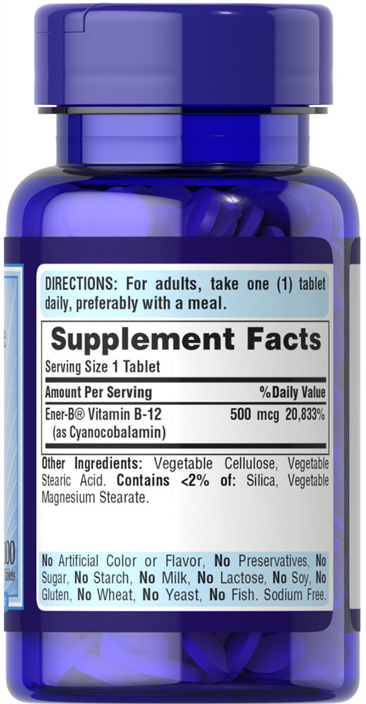 Vitamin B-12 500 mcg Thumbnail Alternate Bottle View