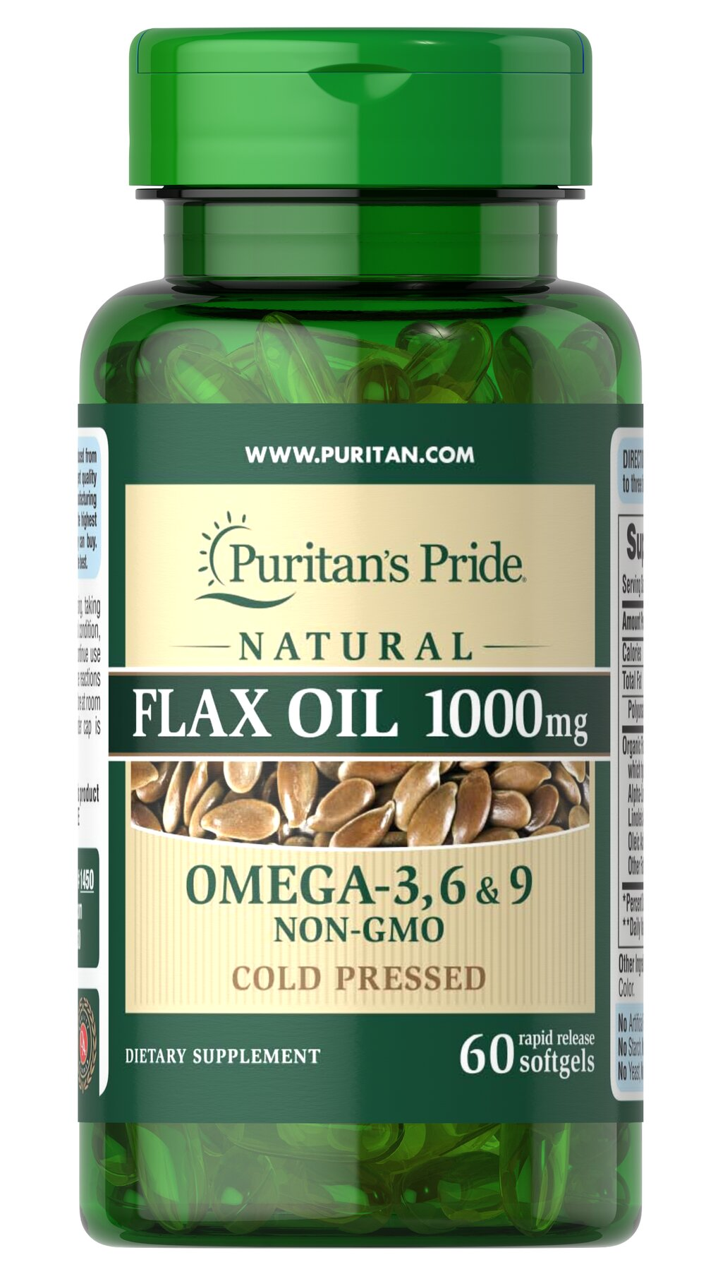 Non-GMO Natural Flax Oil 1000 mg Thumbnail Alternate Bottle View