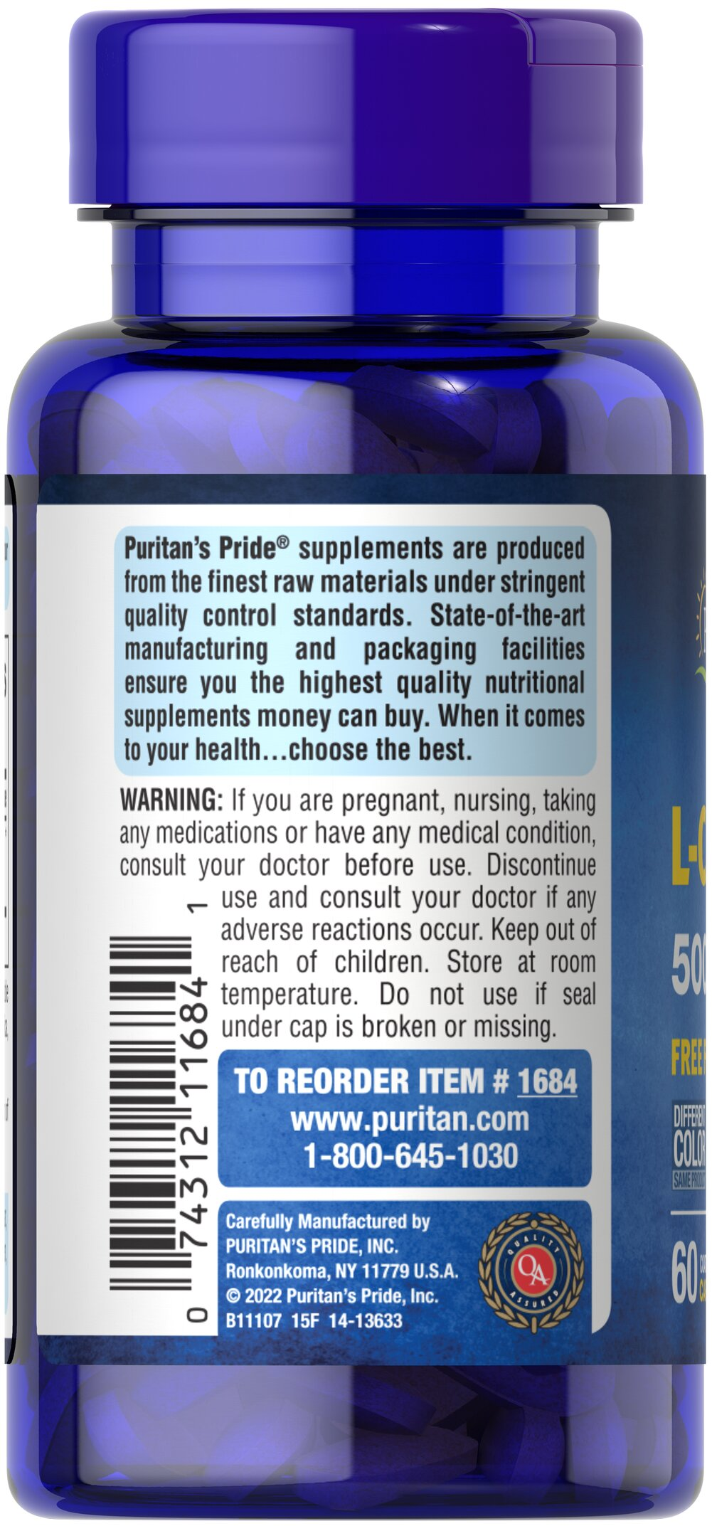 L-Carnitine 500 mg Thumbnail Alternate Bottle View