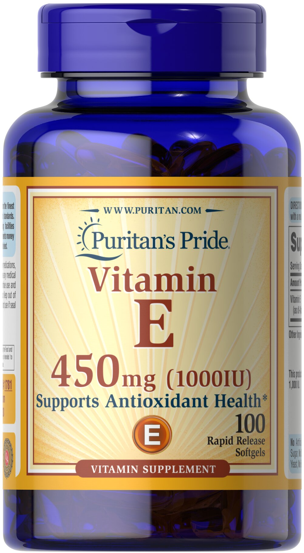 Vitamin E-1000 IU Thumbnail Alternate Bottle View