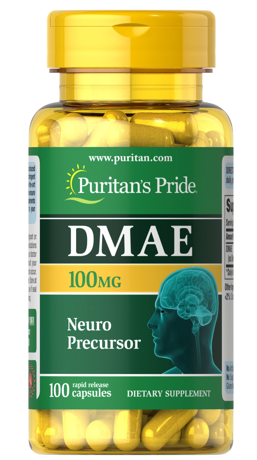 DMAE 100 mg Thumbnail Alternate Bottle View