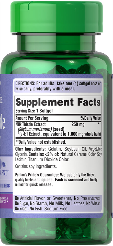 Milk Thistle 1000 mg 4:1 Extract (Silymarin) Thumbnail Alternate Bottle View