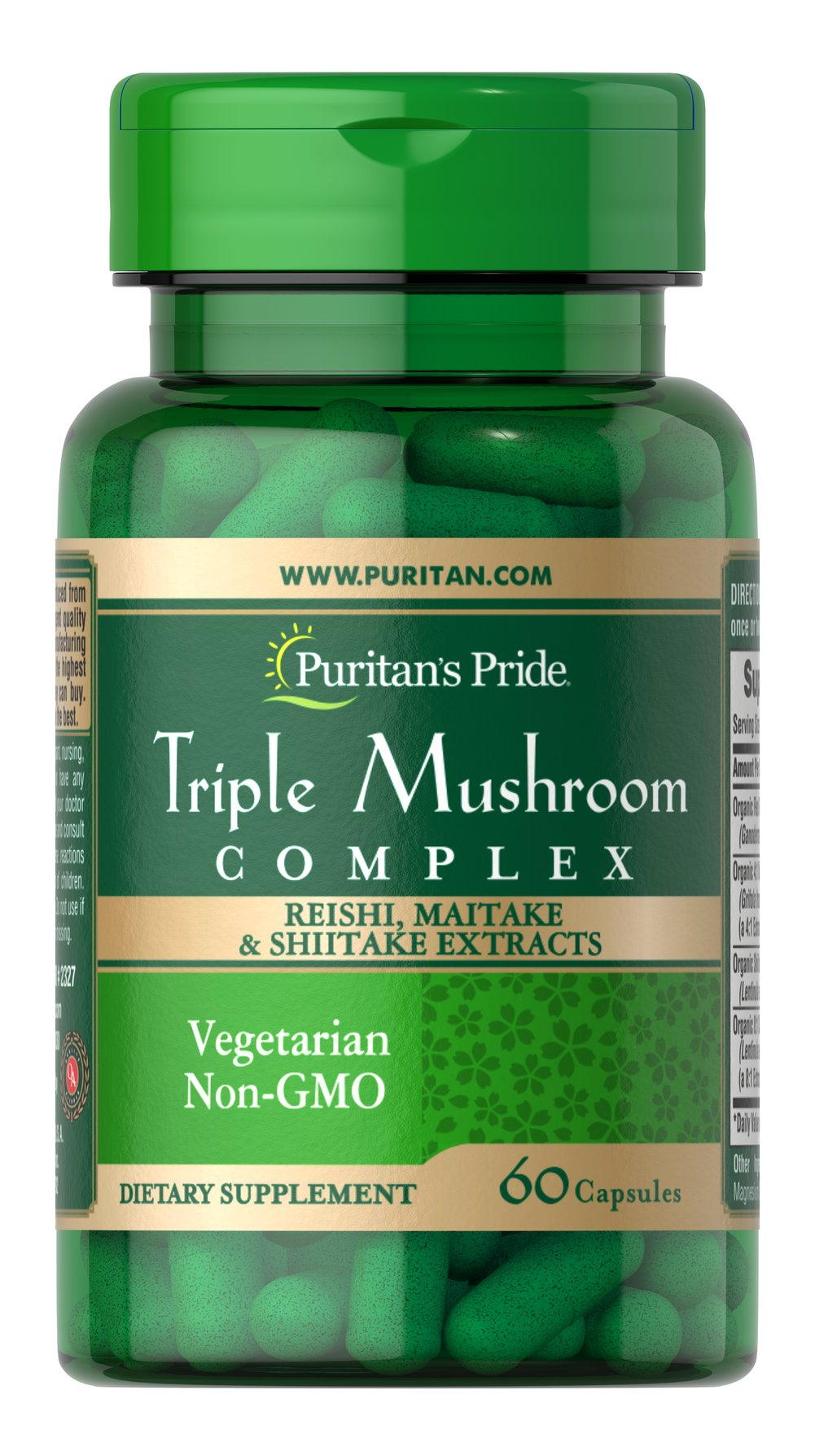 Triple Mushroom Complex Reishi Shiitake Maitake Thumbnail Alternate Bottle View