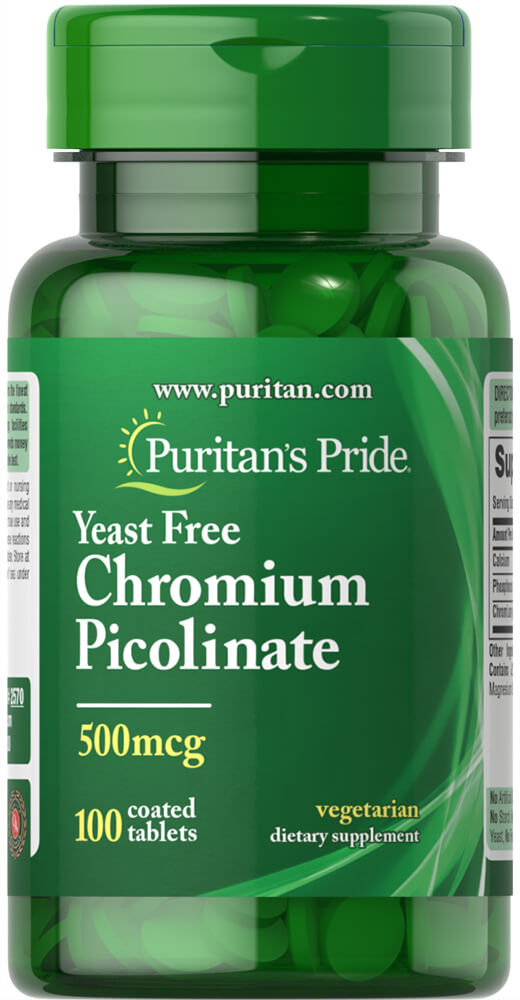Chromium Picolinate 500 mcg Yeast Free Thumbnail Alternate Bottle View