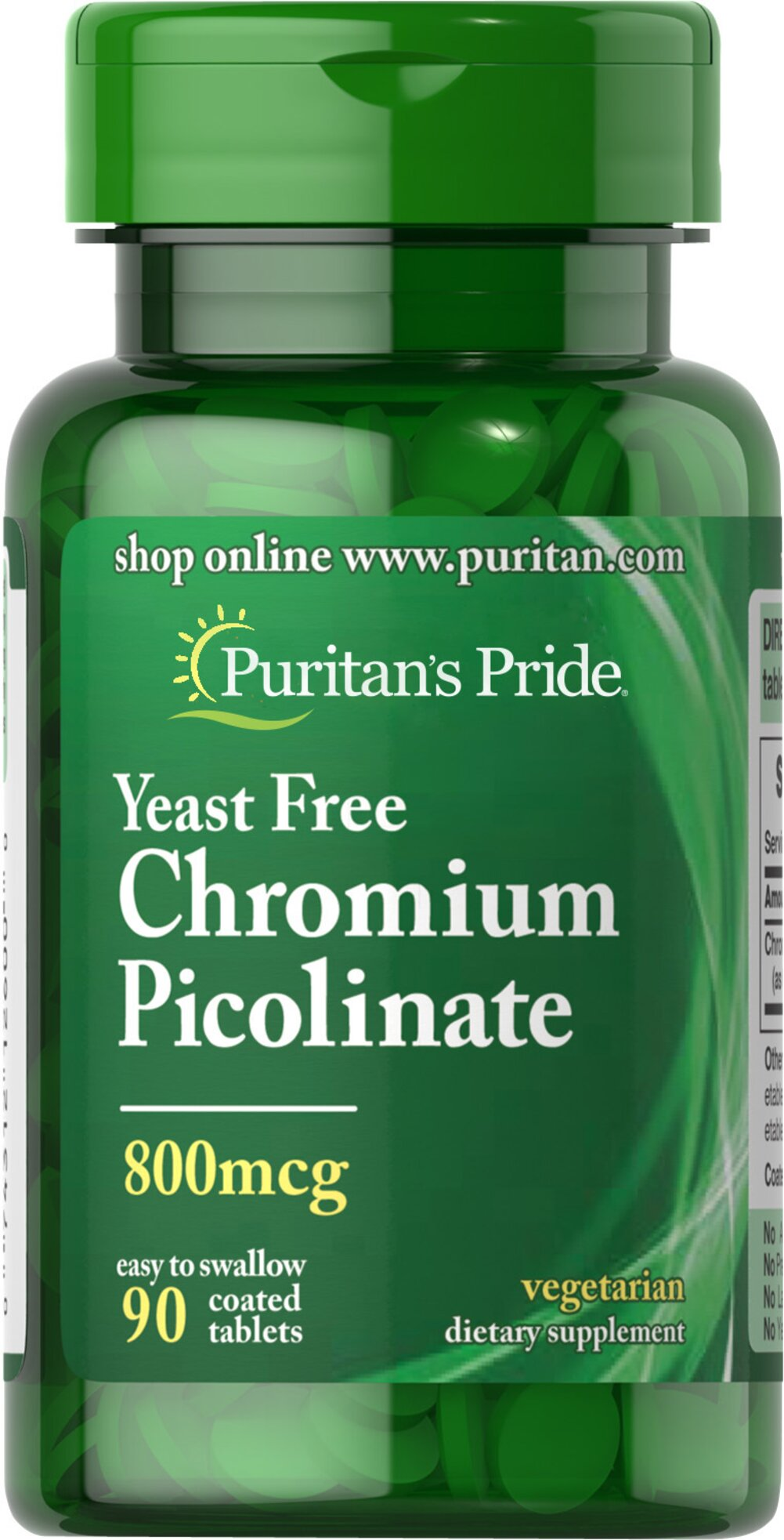 Chromium Picolinate 800 mcg Yeast Free Thumbnail Alternate Bottle View