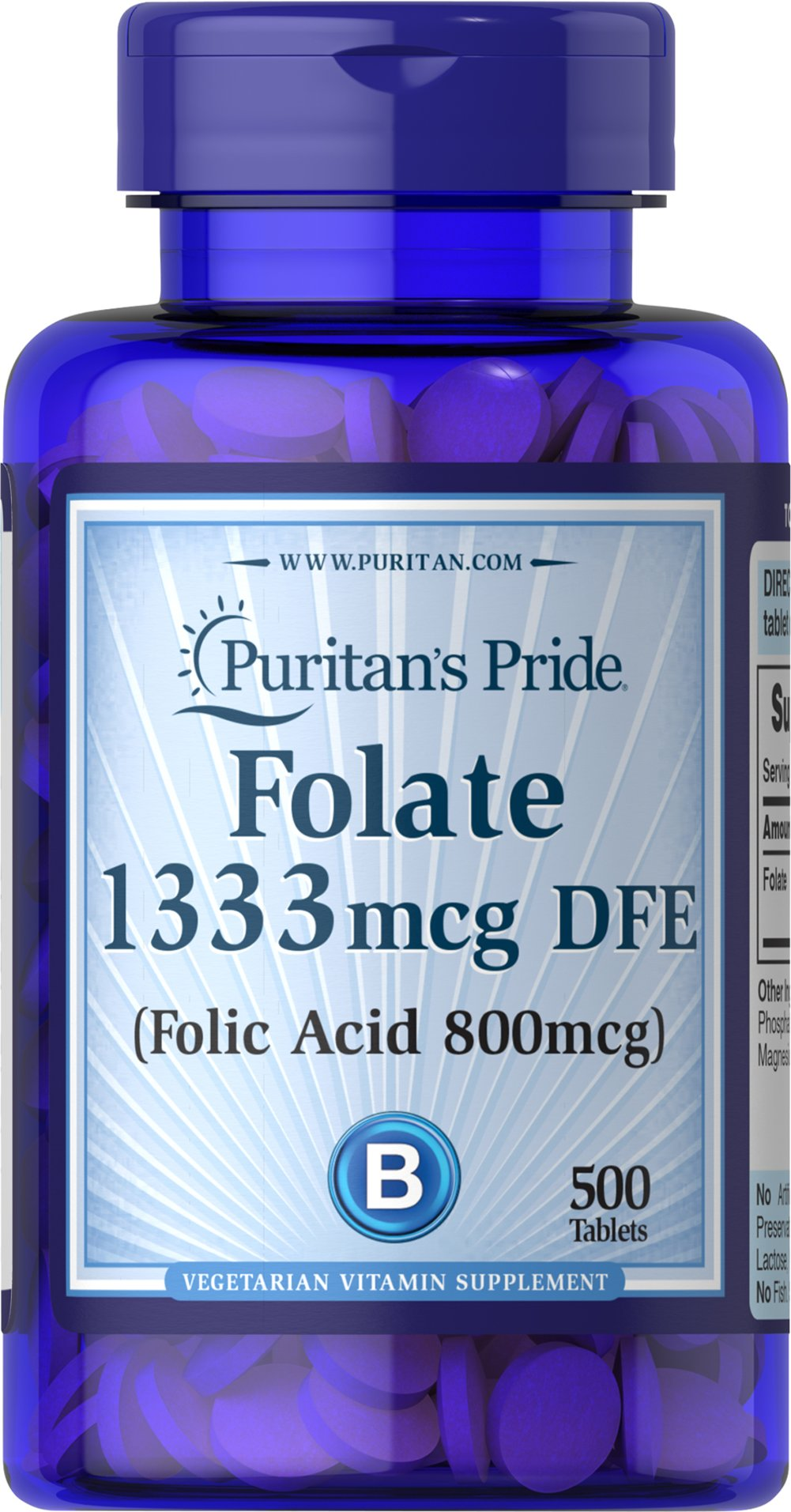Folate 1333 mcg DFE Thumbnail Alternate Bottle View