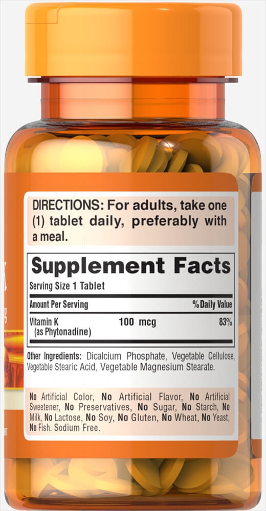 Vitamin K 100 mcg Thumbnail Alternate Bottle View