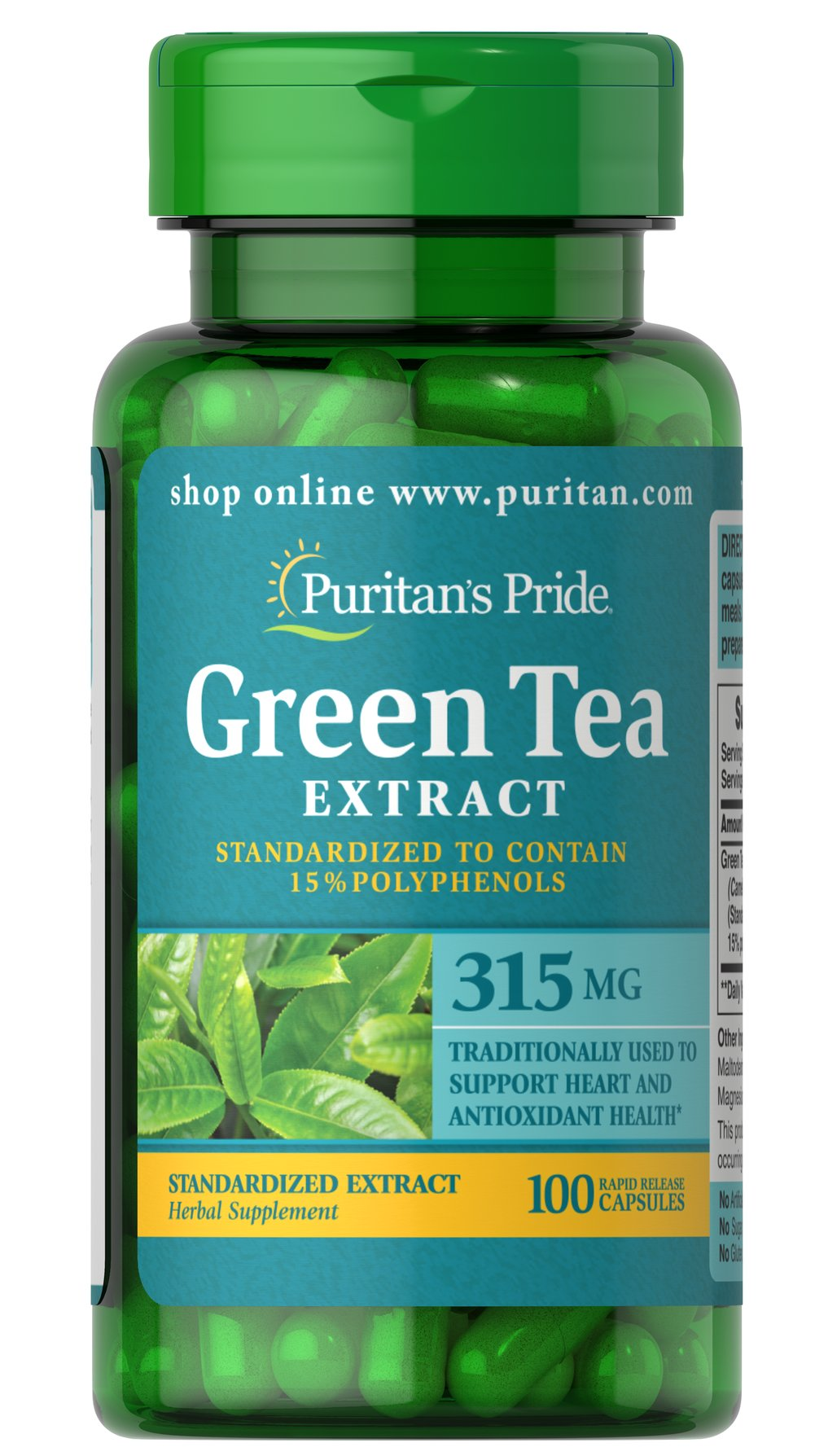 Green Tea Standardized Extract 315 mg Thumbnail Alternate Bottle View