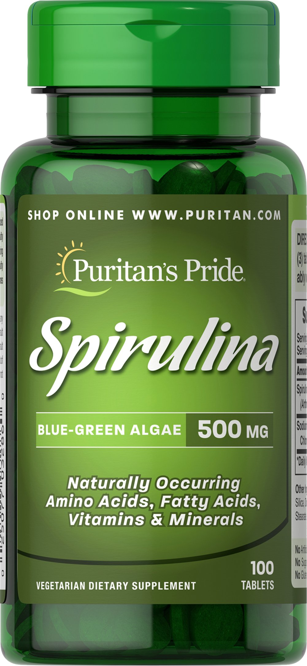 Spirulina 500 mg Thumbnail Alternate Bottle View