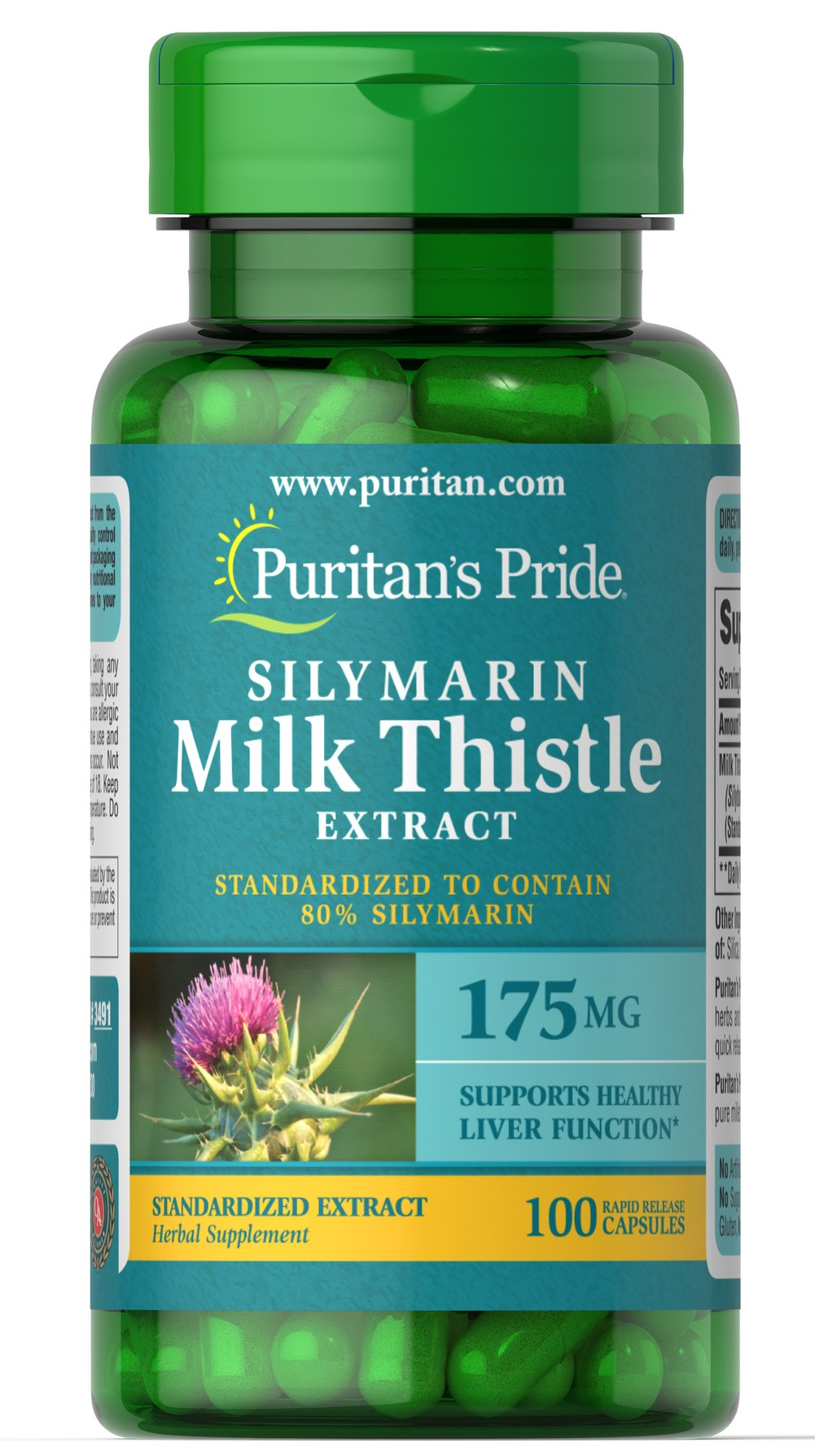 Milk Thistle Standardized 175 mg (Silymarin) Thumbnail Alternate Bottle View