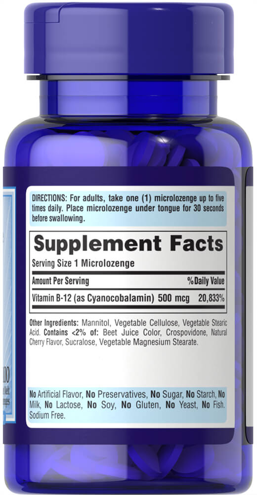 Vitamin B-12 500 mcg Sublingual Thumbnail Alternate Bottle View