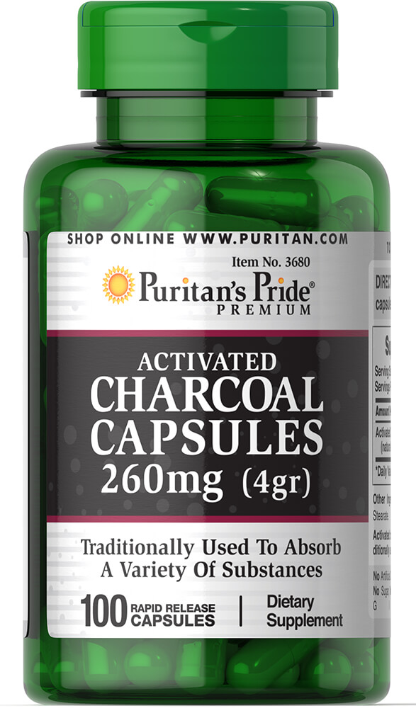 Charcoal (Activated) 260 mg Thumbnail Alternate Bottle View