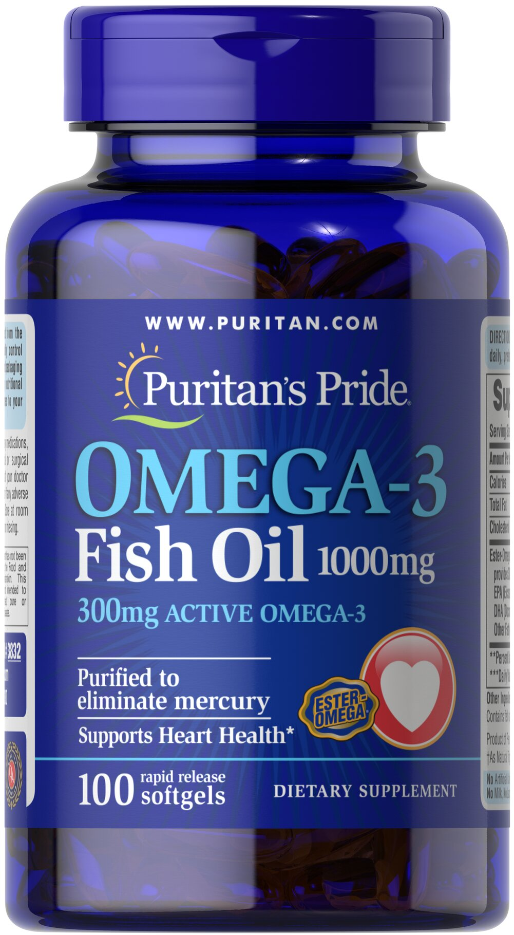 Omega 3 fish oil 1000 mg 300 mg active omega 3 100 for Advantages of fish oil