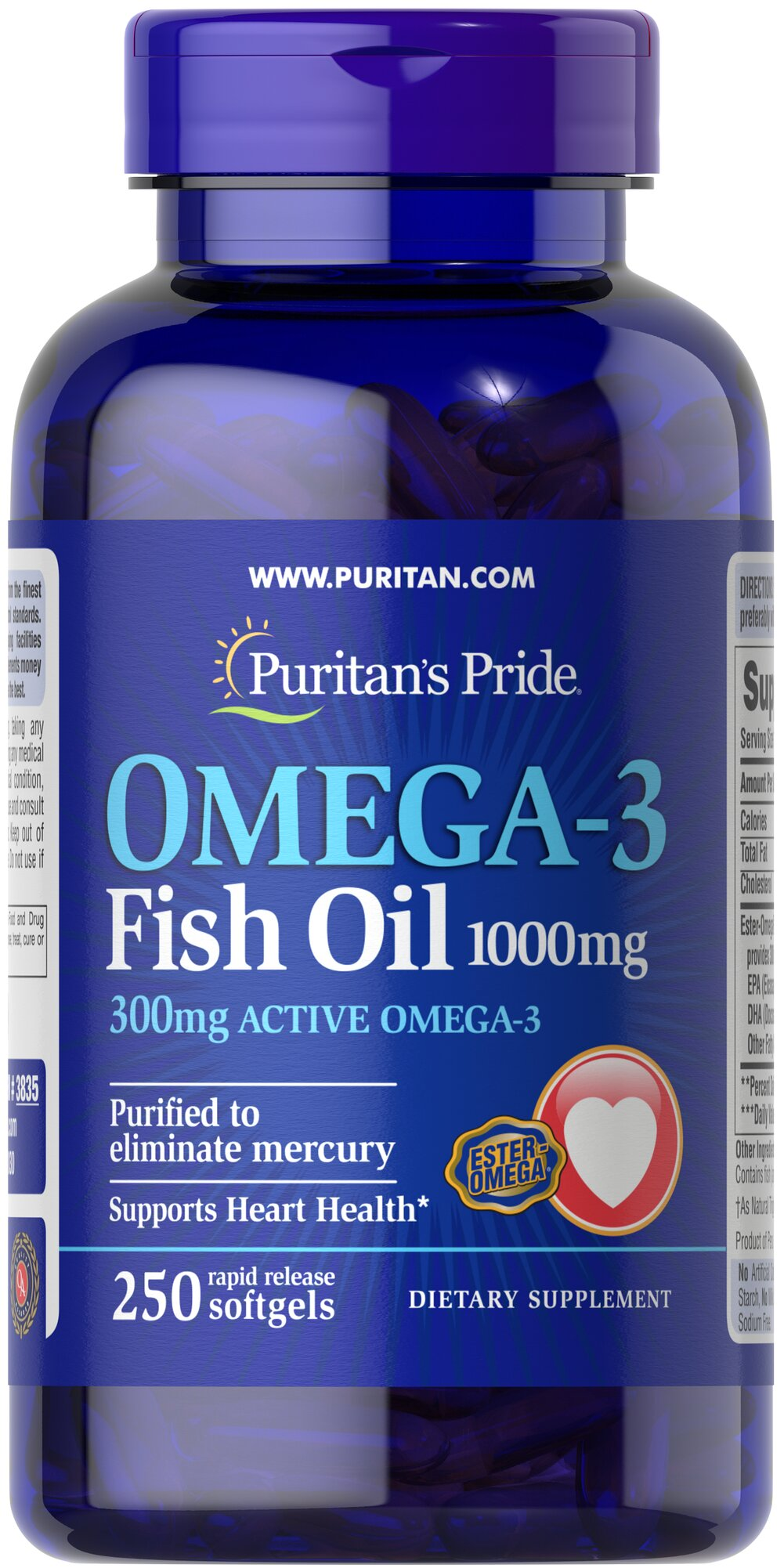 Omega 3 fish oil 1000 mg 300 mg active omega 3 250 for Fish oil 1000 mg