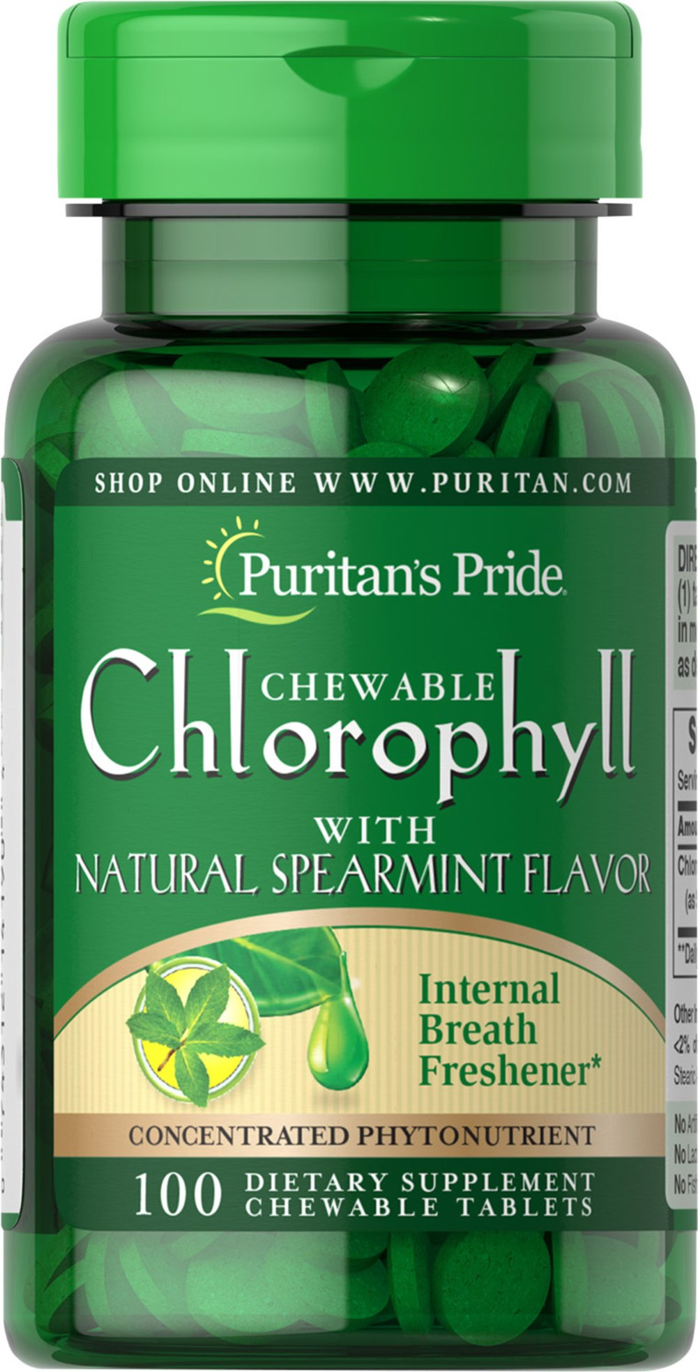 Chewable Chlorophyll with Natural Spearmint Flavor Thumbnail Alternate Bottle View