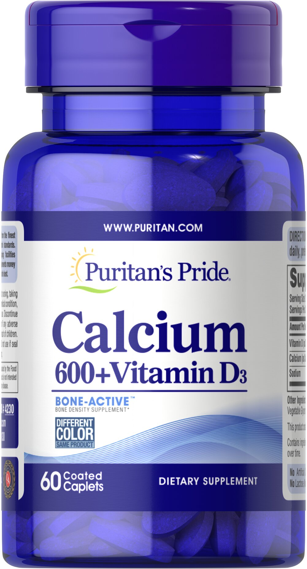 Calcium Carbonate 600 mg + Vitamin D 125 IU Thumbnail Alternate Bottle View