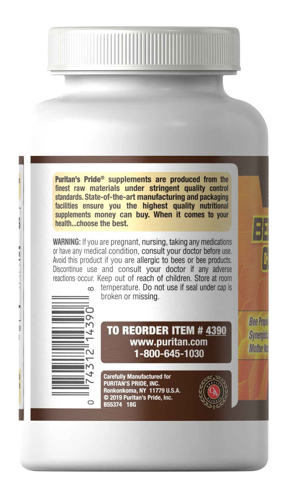 Bee Pollen Complex 1000 mg Thumbnail Alternate Bottle View