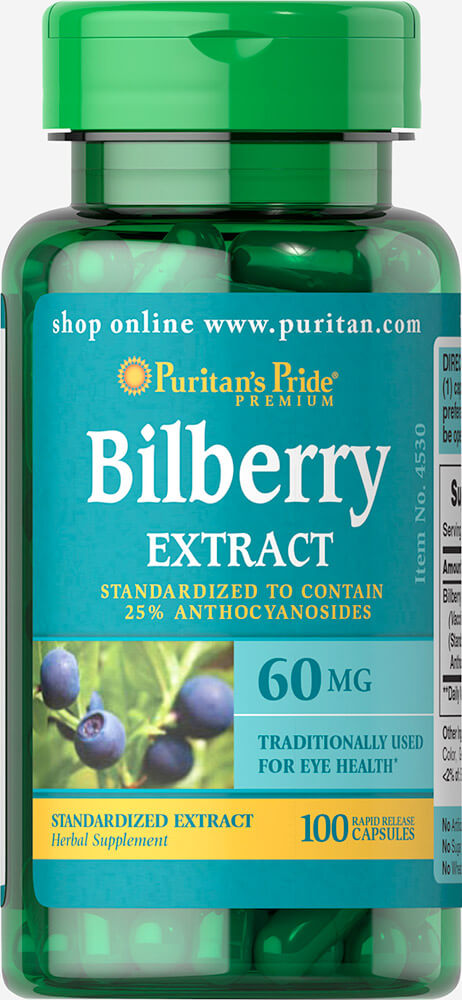 Bilberry Fruit Standardized Extract 60 mg Thumbnail Alternate Bottle View