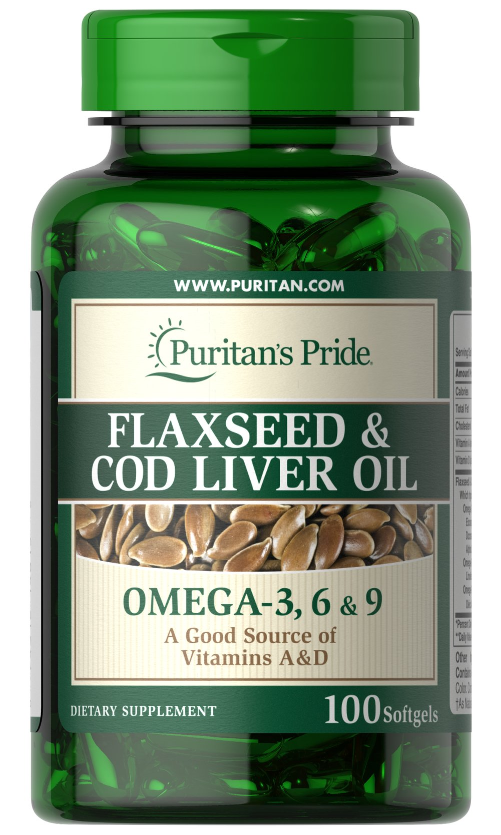 Flaxseed & Cod Liver Oil 1000 mg Omega 3, 6 & 9 Thumbnail Alternate Bottle View