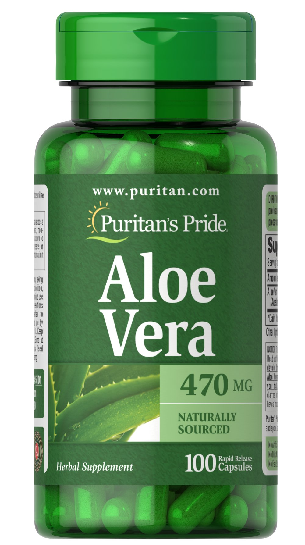 Aloe Vera 470 mg Thumbnail Alternate Bottle View