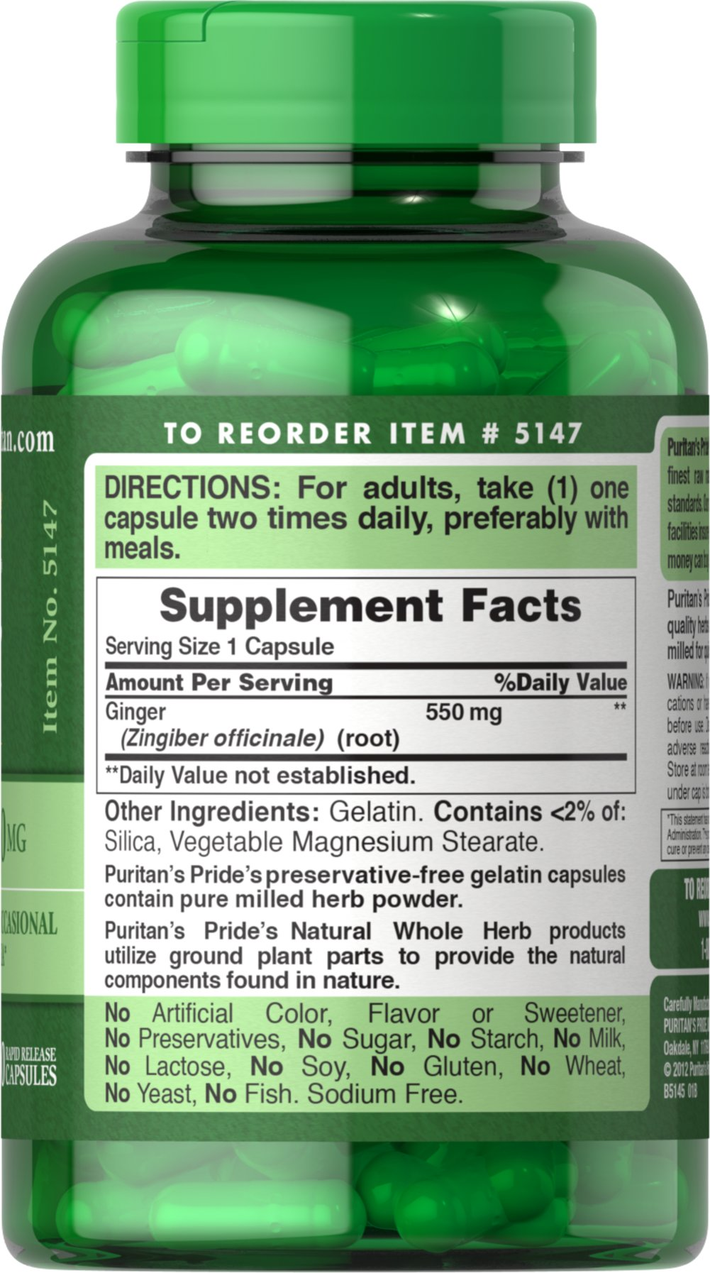 Ginger Root 550 mg Thumbnail Alternate Bottle View