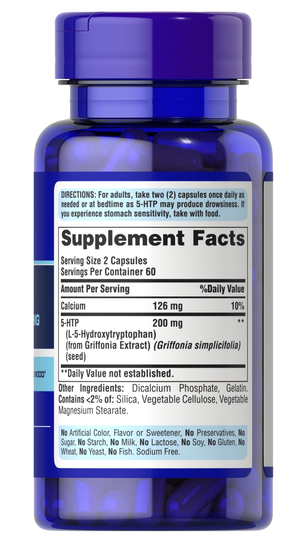 5-HTP 100 mg (Griffonia Simplicifolia) Thumbnail Alternate Bottle View