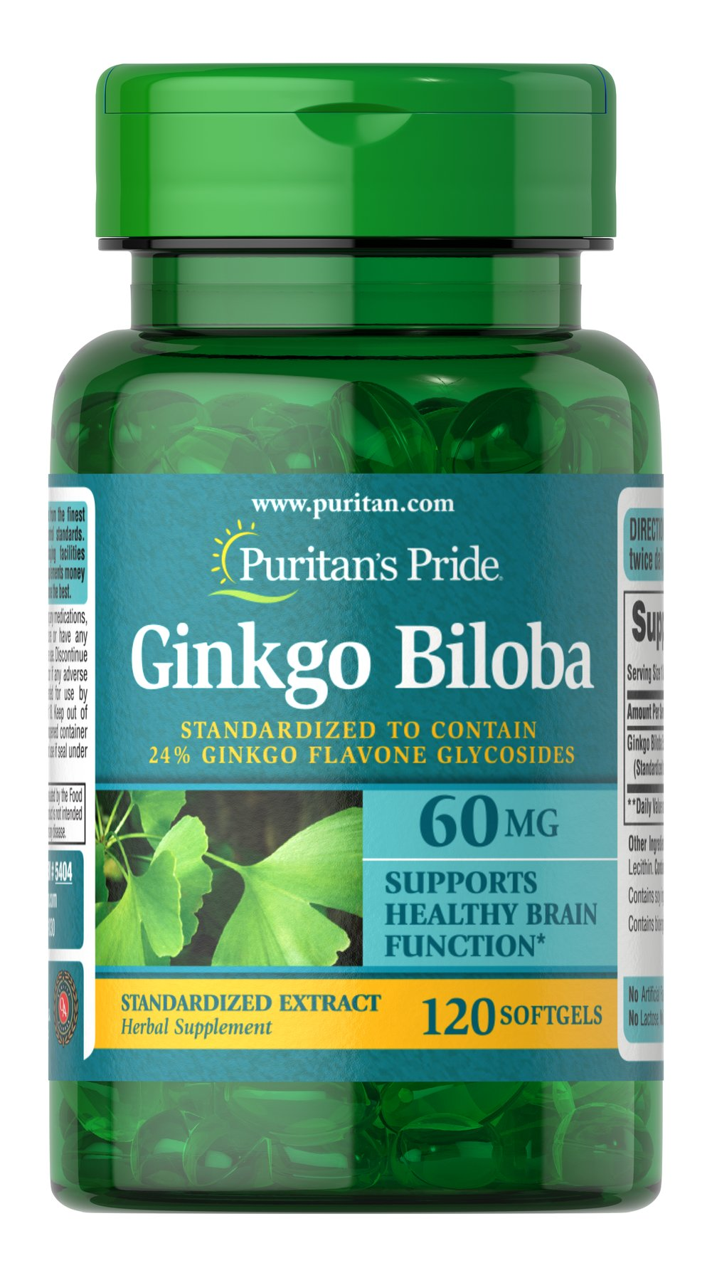 Ginkgo Biloba Standardized Extract 60 mg Thumbnail Alternate Bottle View