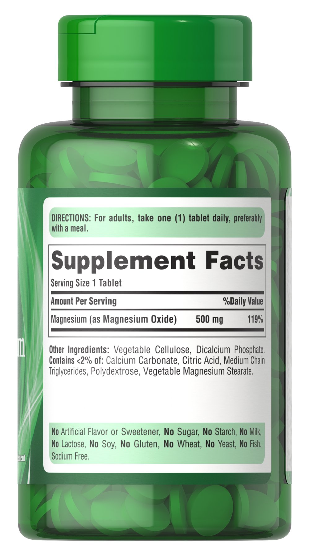 Magnesium 500 mg Thumbnail Alternate Bottle View