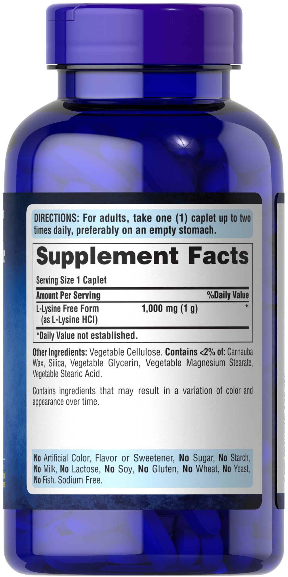L-Lysine 1000 mg Thumbnail Alternate Bottle View