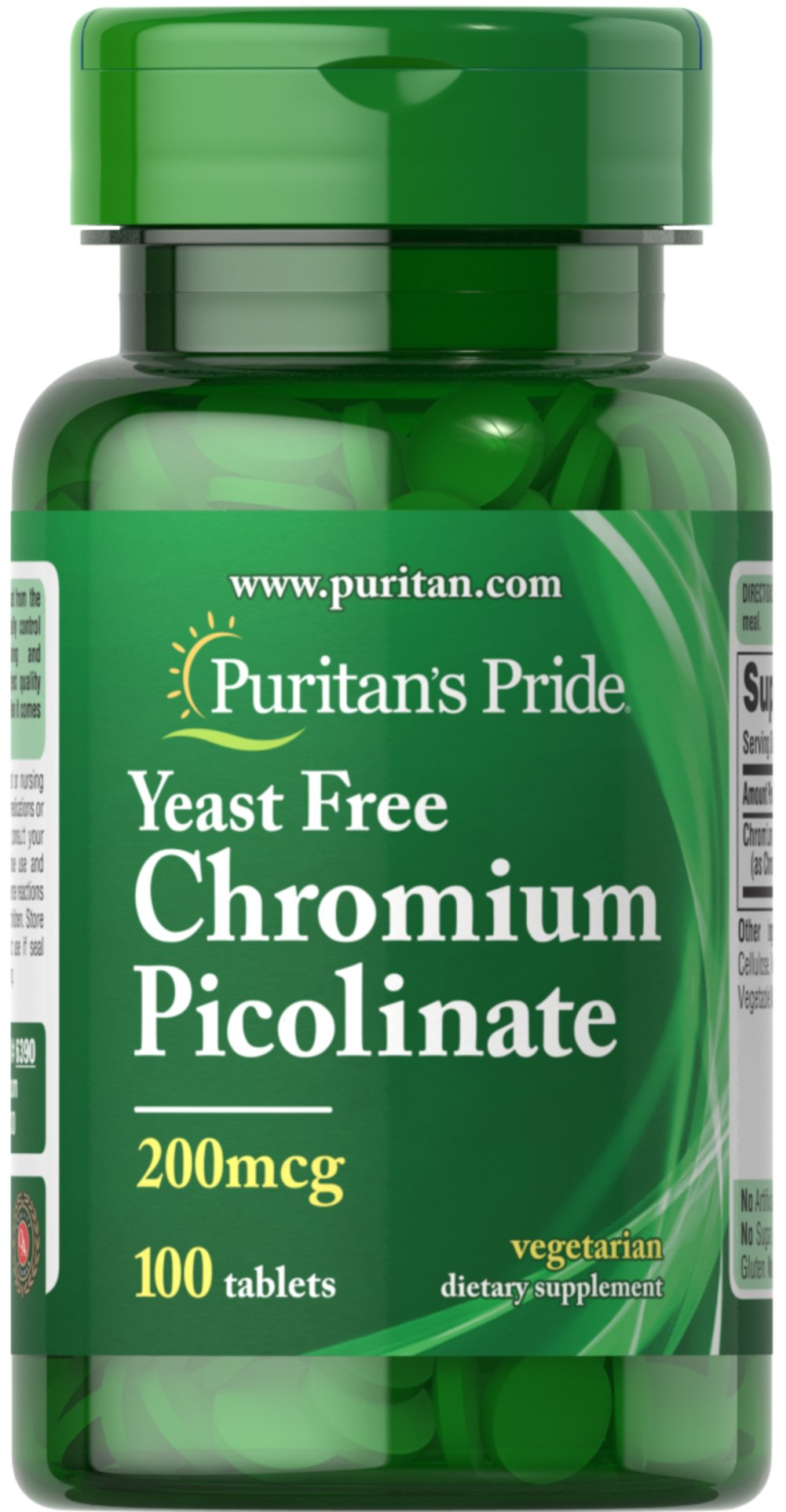 Chromium Picolinate 200 mcg Yeast Free Thumbnail Alternate Bottle View