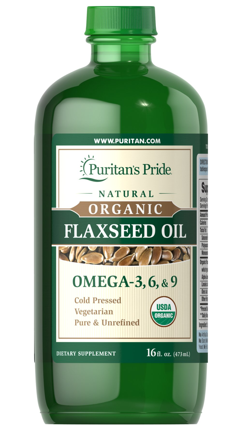 Organic Flaxseed Oil Thumbnail Alternate Bottle View